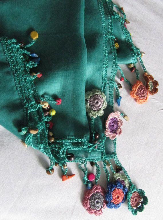 This scarf made by bead and lace handiwork on by SEVILSBAZAAR, $20.00 (Turkish oya -Sevil Bazaar)
