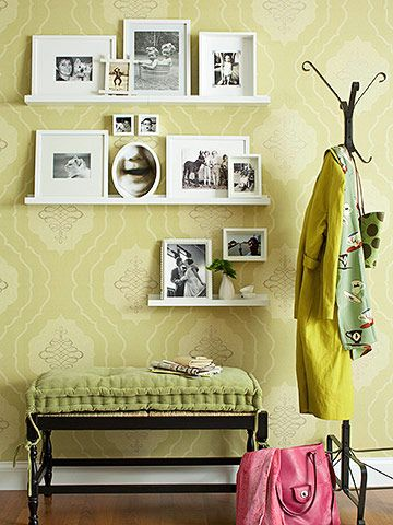 Great for the main entry way - not to clutter. A place to hang coats easily. A place to take off shoes. And a nice photo collage upon entering the home.