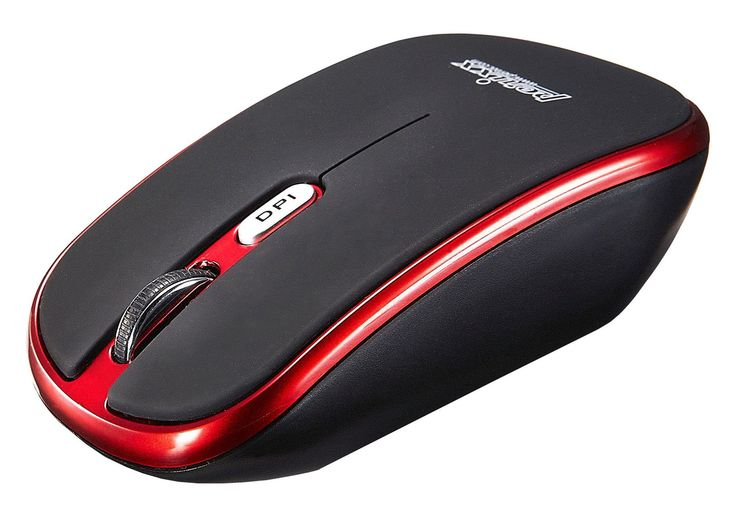 Perixx PERIMICE-710R, Wireless Mouse for Laptop - Red - 2.4G - Up to 30 Ft Operating Range - 1000/1600 DPI Optical Resolution - Nano Receiver - On/Off Switch - Elegant Rubber Painting - Energizer Batteries Included