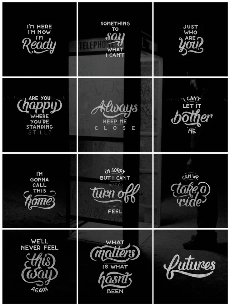 """Completed Instagram hand-lettering series celebrating the 10-year anniversary of the Jimmy Eat World Album """"Futures."""""""