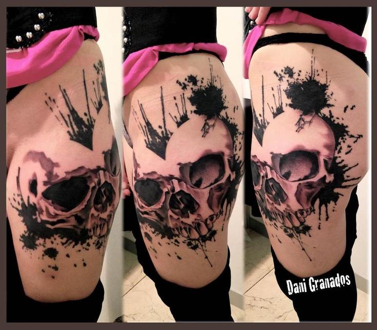 Sick skull thigh tattoo