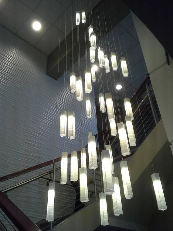Modern Foyer Chandelier For Entrayway Or Stairway Lighting Etsy High Ceiling Lighting Modern Chandelier Foyer Foyer Lighting Fixtures
