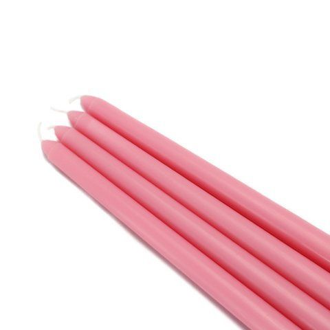 """12"""" Pink Taper Candles (144pcs/Case) Bulk by Zest Candle. $129.99. Burn Time: 7 Hours. Prices are per bulk case of 144 candles. Size: 7/8"""" Diameter x 12"""" H. 100% Handpoured  Elegant taper candles add sophistication to any party. We make our unscented tapers in a wide variety of vivid colors, sure to coordinate with your dining room, living room, or kitchen. Due to the nature of the dipping process involved in making taper candles, base size may vary. A candle shaper an..."""