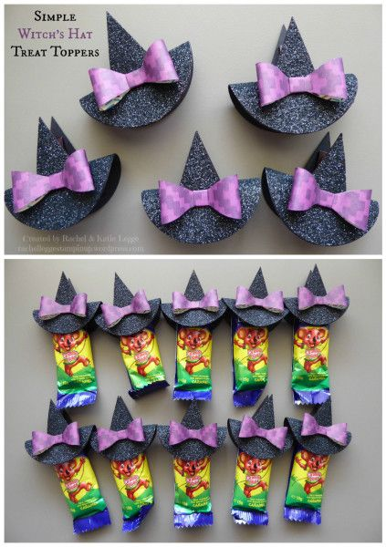 Simple and Easy Witch's Hat Halloween Treat Toppers