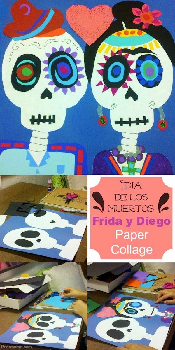 Pearmama: Dia de los Muertos: Frida y Diego Paper Collage