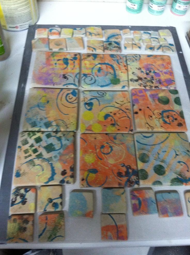 Mono print tiles.