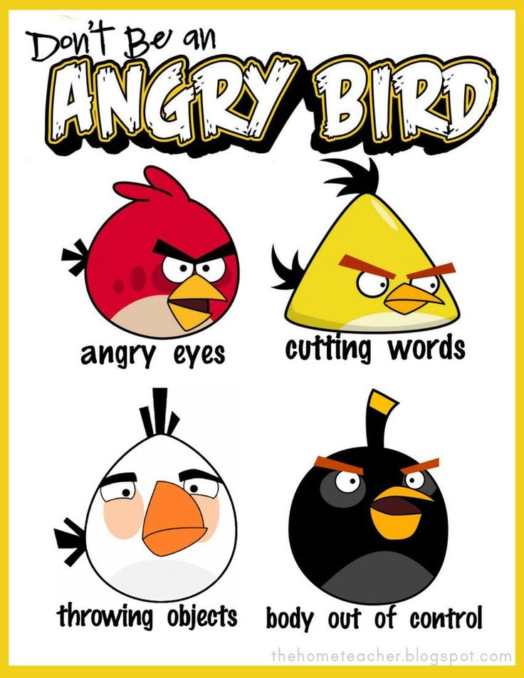 Don't Be An Angry Bird: Free Printables Great idea! Uses angry birds to teach anger management, there is a link to the lesson also.
