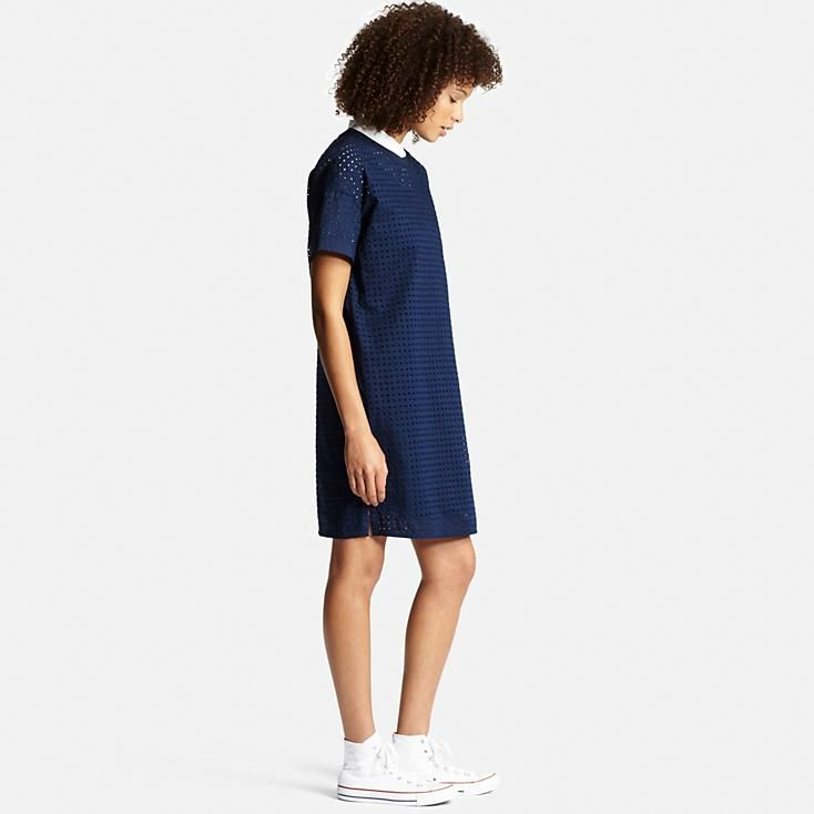 Elegant Uniqlo Women Embroidery Short Sleeve Dress In Blue BLACK  Lyst