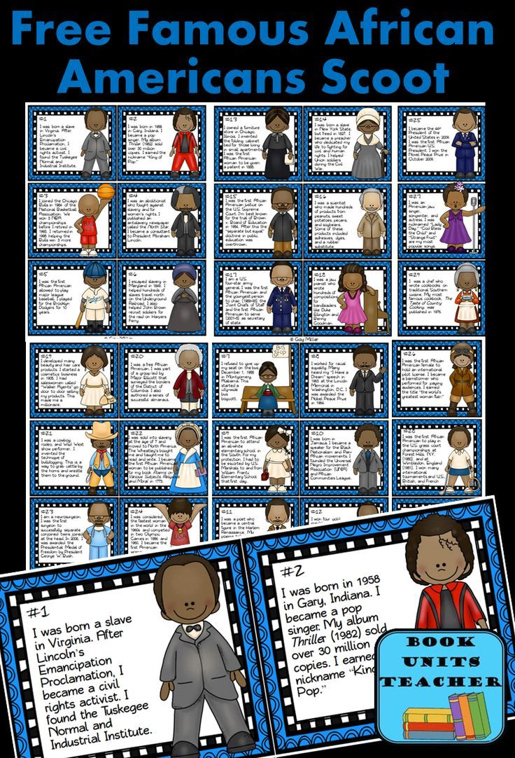 "Black History Month Scoot includes 30 cards with a brief description of famous African Americans. Students are given a ""Student Recording Sheet"" which includes a bank of names to help identify the famous Americans in a game of Scoot."