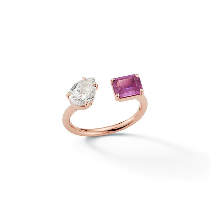 Jemma Wynne 18k Rose Gold One of a Kind Open Ring with prong set diamond pear and emerald cut pink sapphire, Price Upon Request, from Material Good.