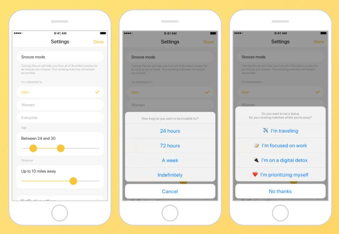 Bumble launches Snooze button to pause dating for a digital detox