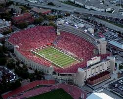 Nebraska Memorial Stadium in Lincoln on a Huskers Football Home Game day with Fans dressed in red.