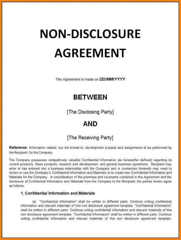 Simple Non Disclosure Agreement Template Non Disclosure