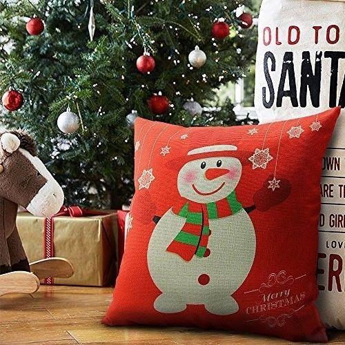 """Christmas Cushion Cover 18"""" Decorative Cotton Linen Snowman Design Xmas Case Red #easy_shopping08"""