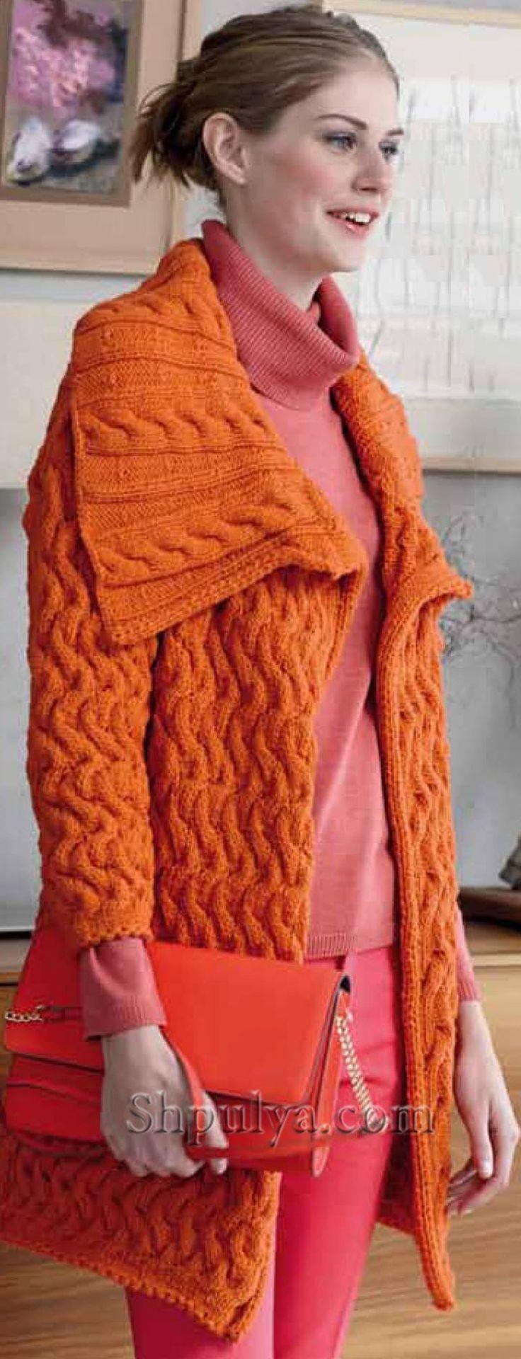Оранжевый  кардиган с косами спицами