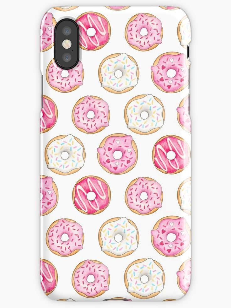 Pink Donuts Phone Case. A repeat pattern made from my illustrations of pink iced (frosted) donuts – which were drawn with pen, watercolours, pencils and finished digitally. Design by Hazel Fisher Creations • Also buy this artwork on phone cases, apparel, stickers, and more.
