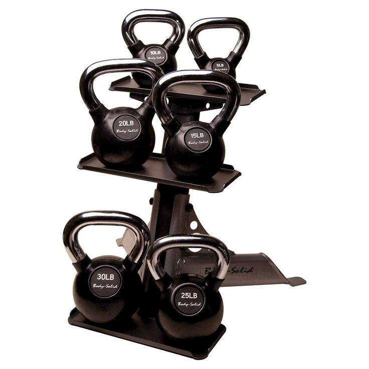 Body Solid Chrome Handle Rubber Kettlebell Set 5-30LBS with Rack - (KBCS105PAC),