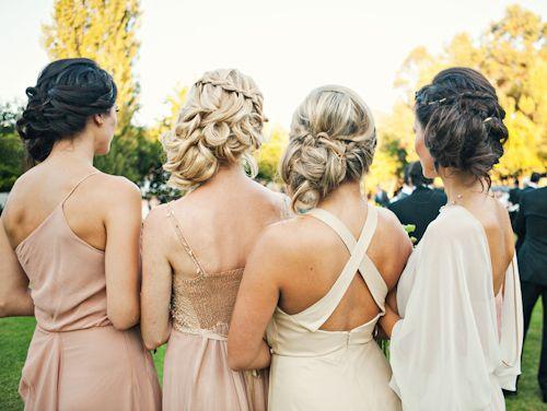 Beautiful bridesmaids in various shades of cream and blush, photos by Joy Marie Studios | junebugweddings.com