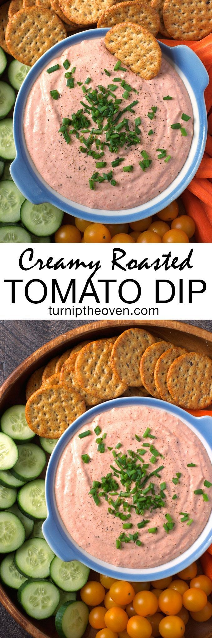 This creamy roasted tomato dip is the perfect quick and simple make-ahead party appetizer! Vegetarian, gluten-free, and made with only real-food ingredients, it's perfect with crackers or veggies, and does double duty as a spread for sandwiches.