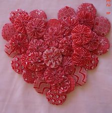 """60 2"""" RED/WHITE MIX Fabric Yo Yo Quilt Applique Trim - on eBay for $9.99 - Today shows 641 items under my 'fabric yoyo' query.  One can always find yoyos for sale on eBay"""