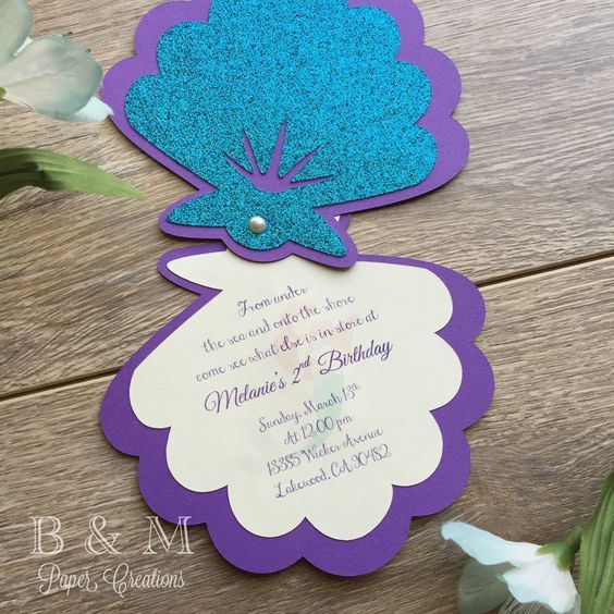 The Little Mermaid Invitations Under The Sea by BMpapercreations: