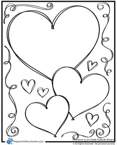 valentine heart and swirls coloring page by projects for preschoolers