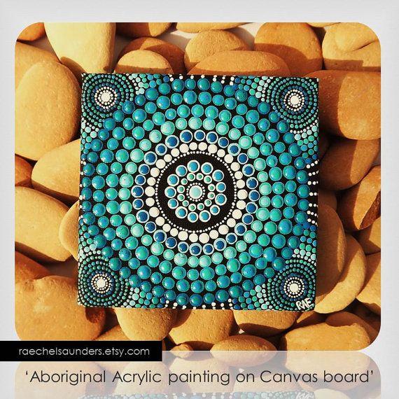 Water Art, Dot Painting, Aboriginal Art, small Original painting, acrylic paint on canvas board, blue decor, 10cm x 10cm