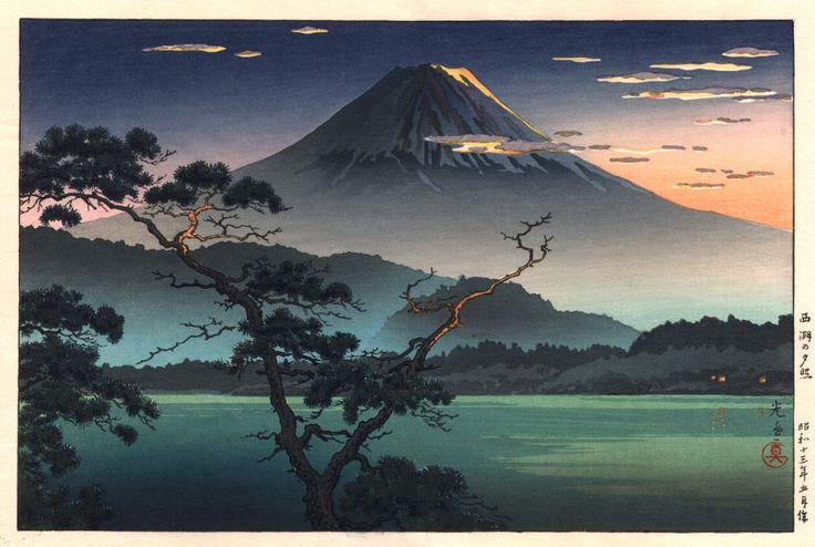 Saiko no Yusho (Evening Glow at Lake Sai aka. Mt. Fuji at Sunset OR Mt. Fuji from Lake Sai), by Tsuchiya Koitsu, 1938