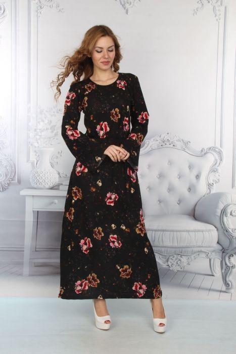 Bayan Elbise Cicek Baskılı Siyah