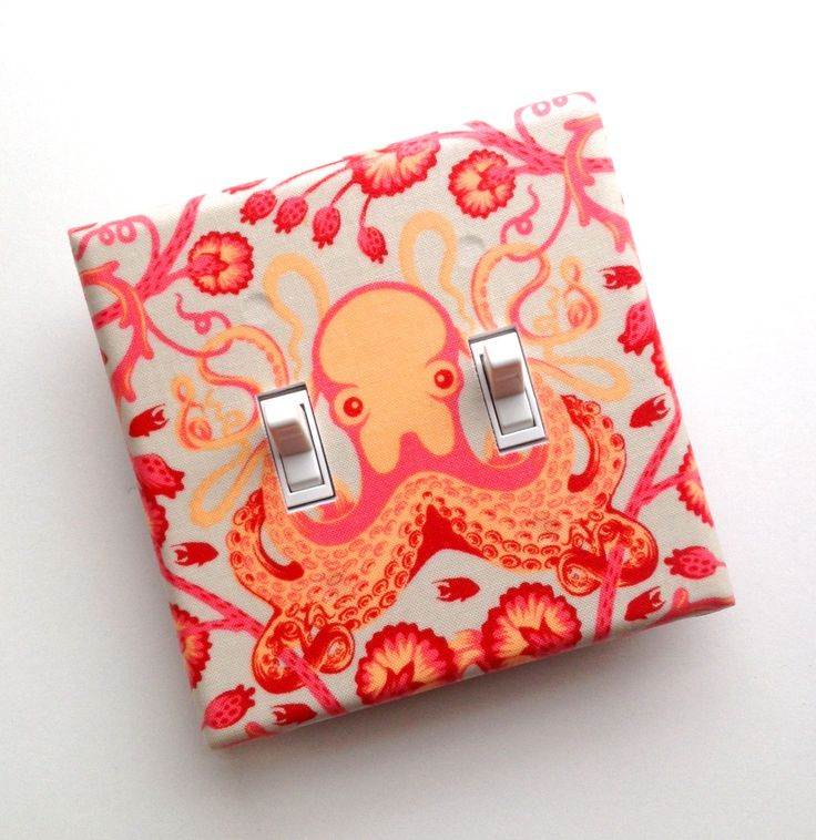 Octopus DOUBLE Light Switch Plate Cover / Nautical Bathroom Decor / Octo Garden Coral Pink Red / Saltwater / Slightly Smitten Kitten. $20.00, via Etsy.