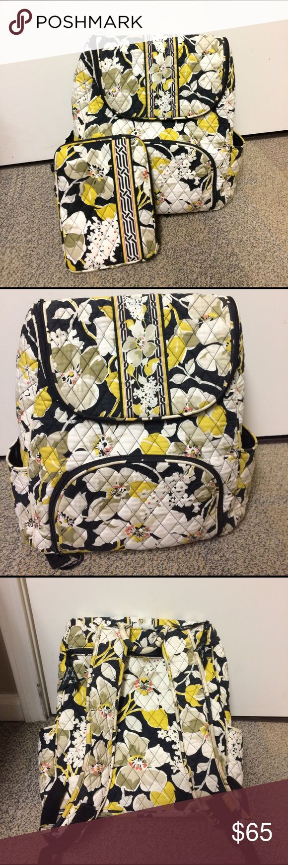 Vera Bradley Backpack & iPad Mini Case Fabric backpack, many pockets for storage. Great for an overnight bag. No signs of wear and tear. Good condition! Vera Bradley Bags Backpacks