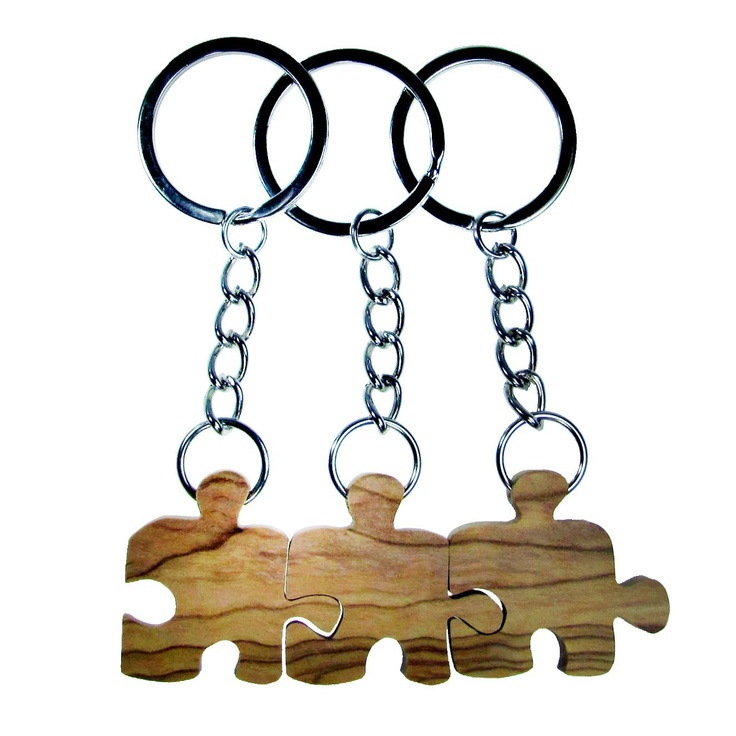 Olive Wood Three Friends Puzzle Piece Keychains Price:	$18.99