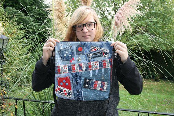 Crazy Bag Umhängetasche blau rot