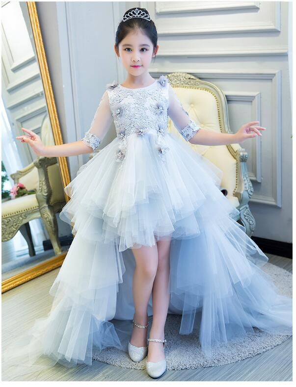 9ceb1f86baa Girl s Wedding Formal Dresses 2018 Long Tailing Tiered Gauze Gowns Flowers  Girls Princess Dress Kids Birthday Party Prom Dress. Yeste…