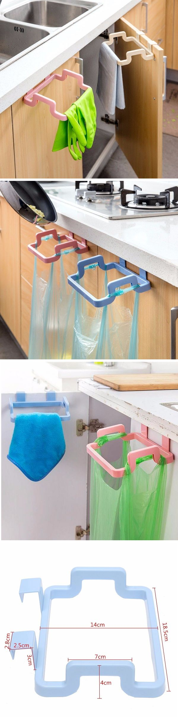US$3.05 Kitchen Cabinet Hanging Rubbish Bag Holder Garbage Storage Rack Cupboard Hanger