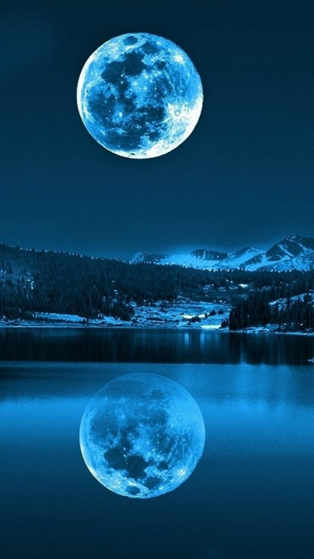 Pretty Girl Wallpaper Full Hd Super Moon Hanging Sky Lake Shadow Iphone 5s Wallpaper