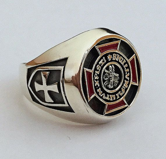 Knights Templar Ring Sterling Silver 925 Masonic / by silverzone88