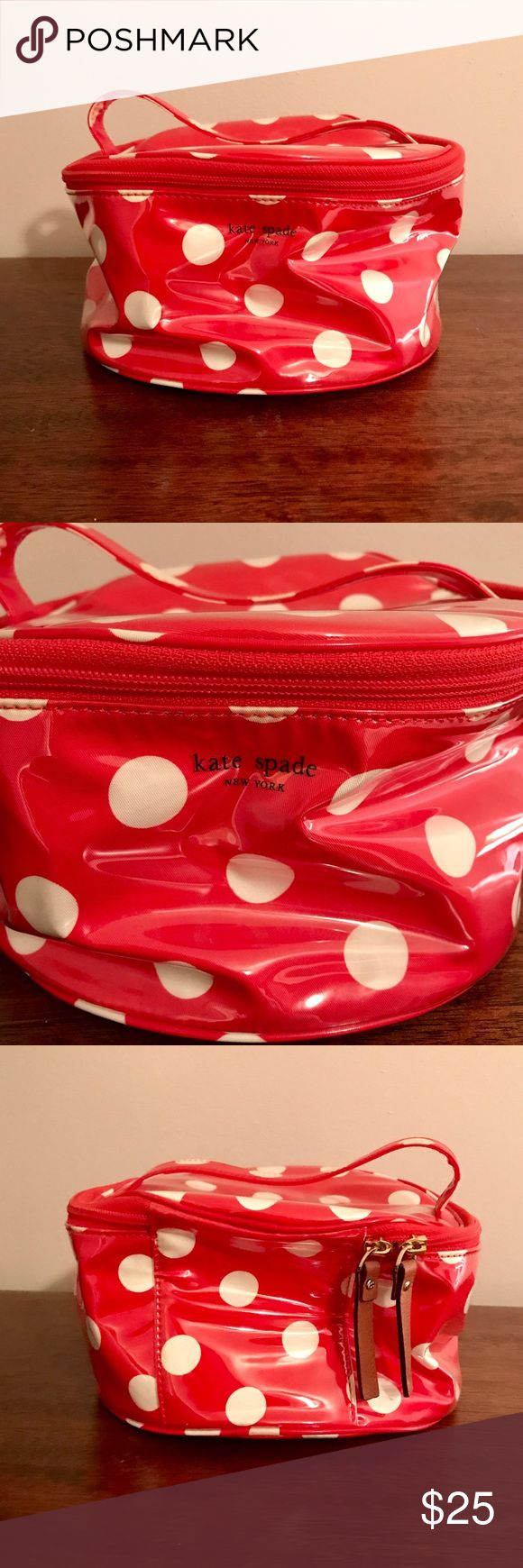 EUC Kate Spade Cosmetic Bag EUC - still has a ton of life left!  Kate Spade Cosmetic Bag  Red and white polka dot exterior  White and black stripe interior  Super cute  Love the bag, but not the price? Make me an offer😊 kate spade Bags Cosmetic Bags & Cases