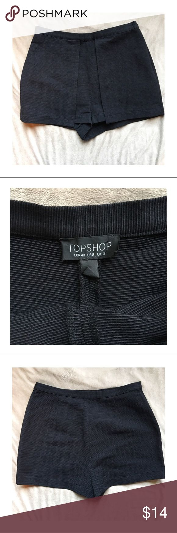 Topshop High Waisted Shorts Topshop high waisted black shorts. Has extra material hanging down on the sides of the front. Very Insta-Chic look! No stains or tears! Topshop Shorts