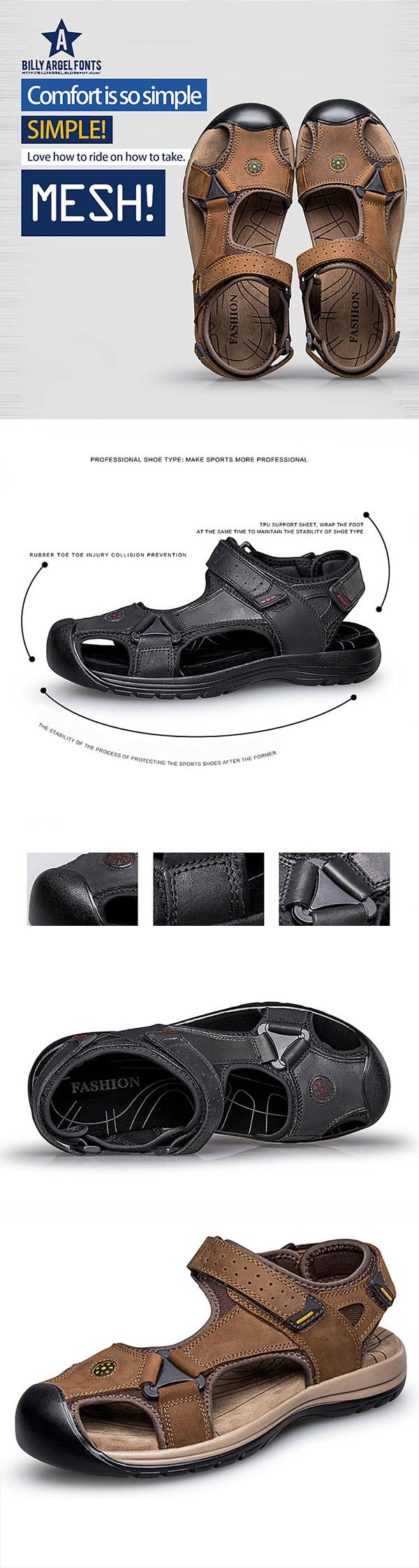 US$47.64#Men Anti-collision Toe Shock Absorption Outdoor Leather Hiking Sandals