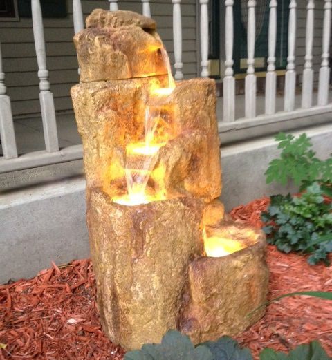 157 best outdoor fountains images on pinterest a beautiful photo of our flowing rock fountain with light from one of our customers workwithnaturefo