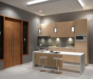 Incredible Stylish Kitchen And Three Ornamental Lights