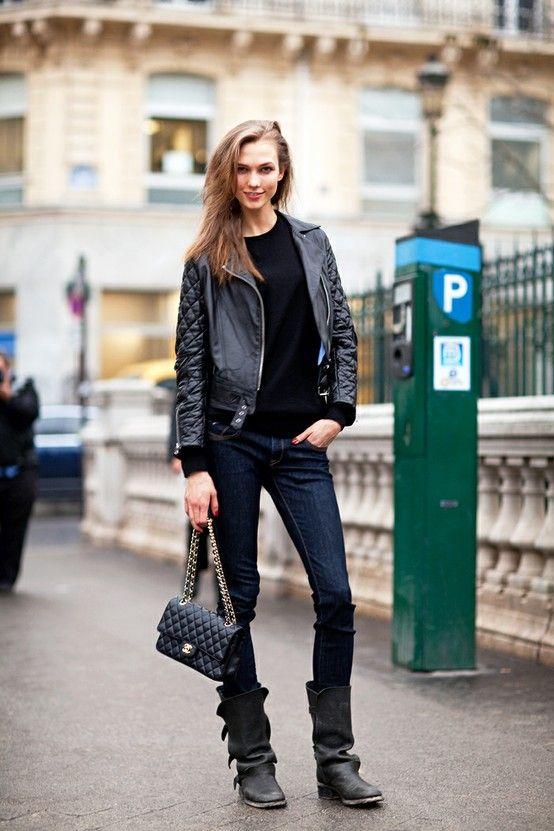 Black leather. Chanel. Karlie Kloss.