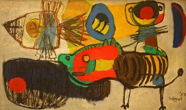 APPEL Karel (Dutch 1921-2006) COBRA ART MOVEMENT-  'la promenade' (1950)