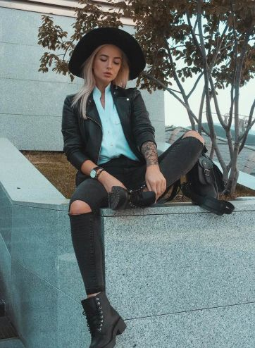 fedora + moto jacket + distressed denim