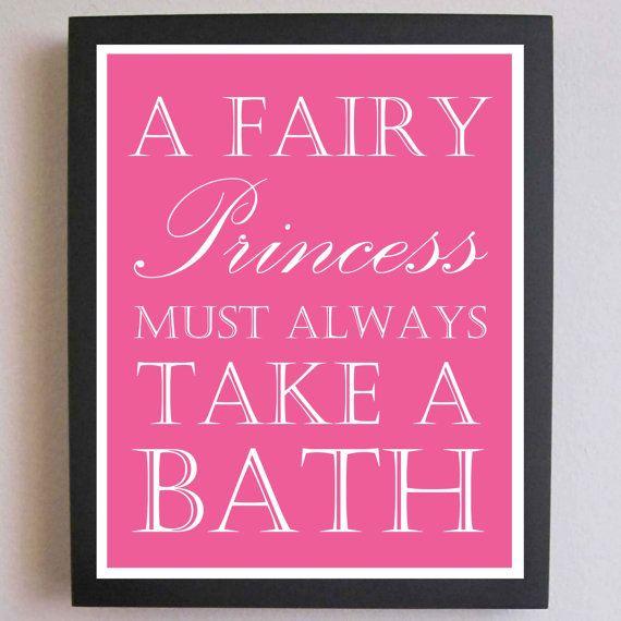 children decor fairy princess take a bath nursery art