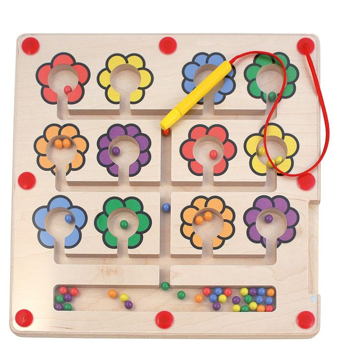 Composez de jolis bouquets en remettant les billes de couleurs au centre de la fleur de la couleur correspondante grâce au stylet magnétique. Un jeu favorisant la coordination œil-main, la concentration et préparant aussi à l'écriture grâce à la préhension du stylet. Plateau en bois recouvert d'une plaque plexiglas. Dim.29 x 29 cm. Dès 3 ans.