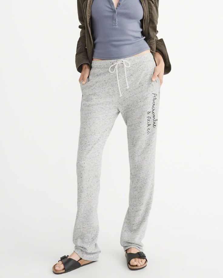 A&F Women's Slim Logo Sweatpants in Grey - Size L