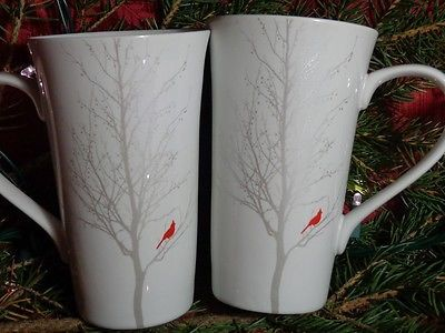 222 Fifth Winter Cardinal Tall Latte Coffee Two mugs / cups * NEW * Red Silver -- Scherlin's Simple Savings on Ebay.