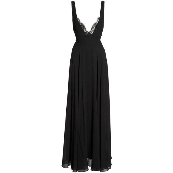 Women's Lulus Lace Trim Chiffon Maxi Dress ($94) ❤ liked on Polyvore featuring dresses, gowns, black, empire waist maxi dress, a line gown, chiffon dress, a line dress and a line evening gowns
